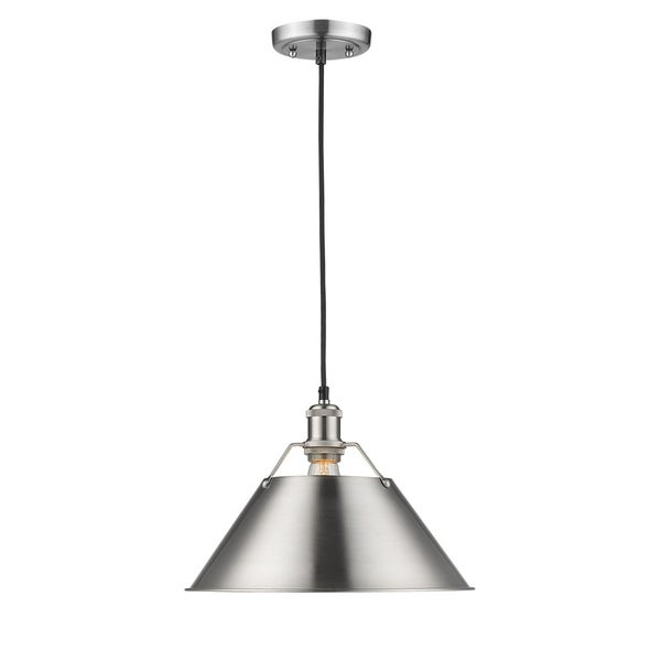 Golden Lighting Orwell PW 1-light Pewter Steel 14-inch Pendant with Pewter Shade
