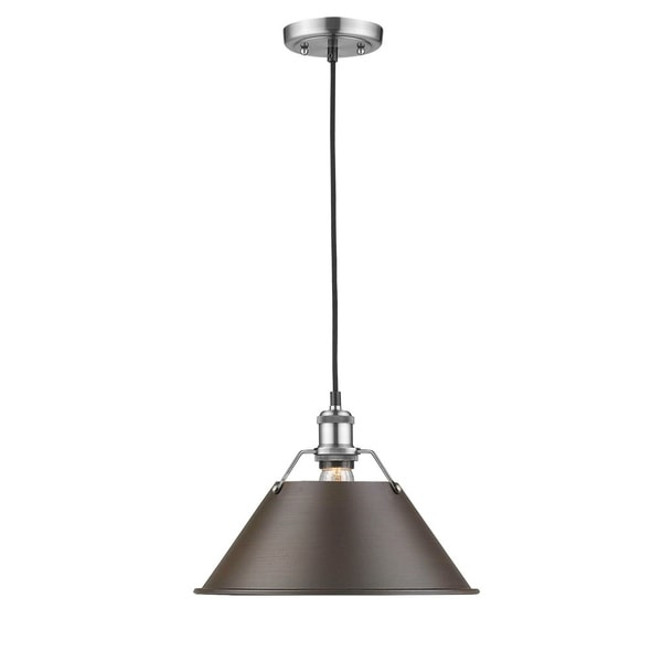 Golden Lighting Orwell PW Rubbed Bronze Shade and Pewter Steel 1-light Pendant Light