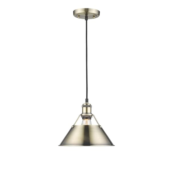 Golden Lighting Orwell AB Aged Brass Finish/Shade 10-inch 1-light Pendant