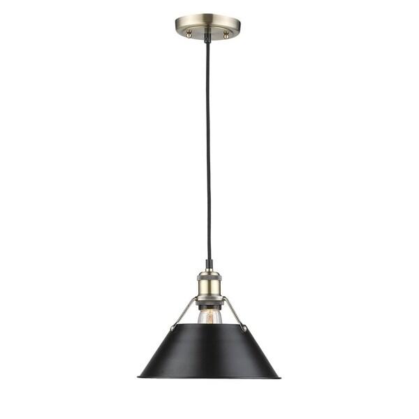 Golden Lighting Orwell AB Black Shade and Aged Brass Steel 10-inch 1-light Pendant Light