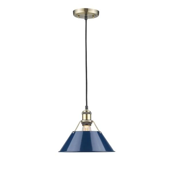 Golden Lighting Aged Brass Orwell AB 1-light Pendant with Blue Shade