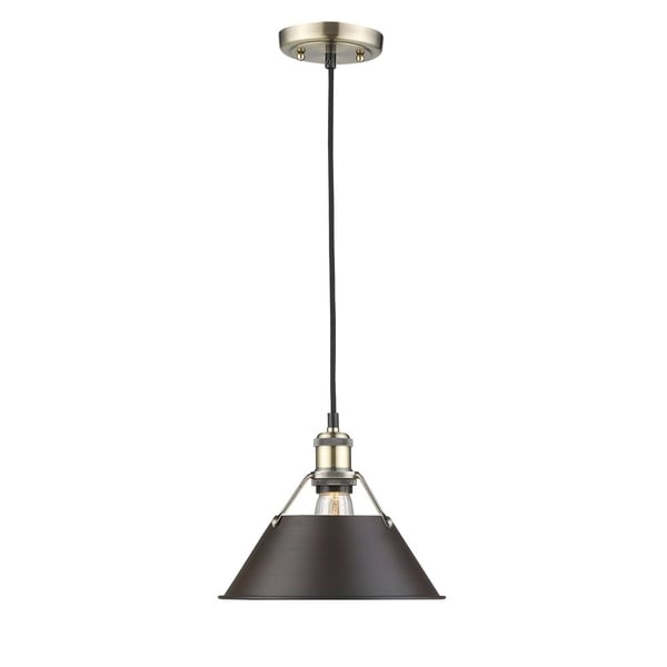 Golden Lighting Orwell Aged Brass-colored Steel 10-inch 1-light Pendant with Rubbed Bronze Shade