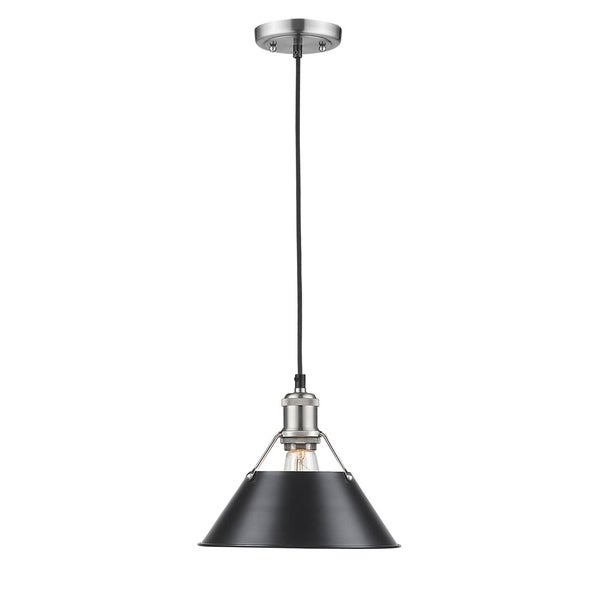 Golden Lighting Orwell PW Pewter Black Shade 10-inch 1-light Pendant