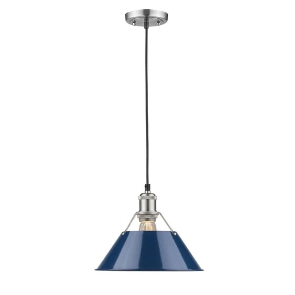 Golden Lighting Orwell Pewter Finish Steel Navy Blue Glass Shade Pendant Light
