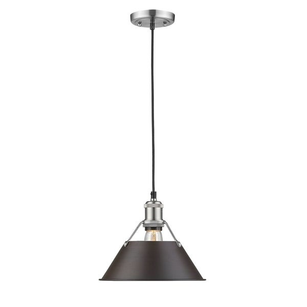 Golden Lighting Orwell PW Pewter Rubbed Bronze Shade Steel 10-inch 1-light Pendant