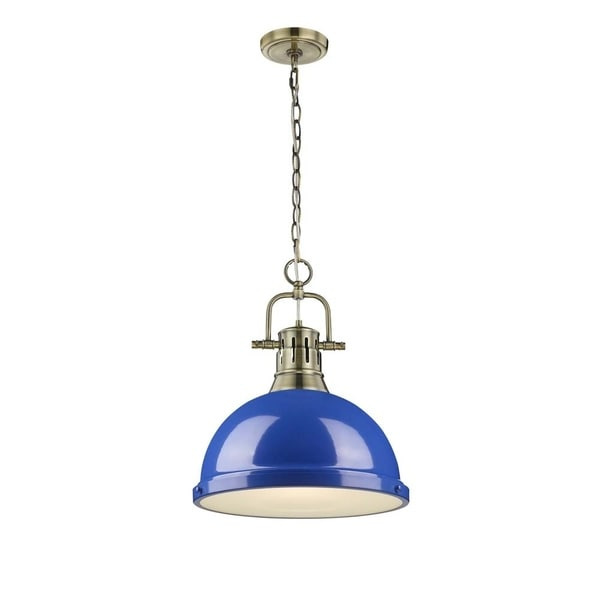 Duncan 1-light Pendant with Chain in Aged Brass with a Blue Shade