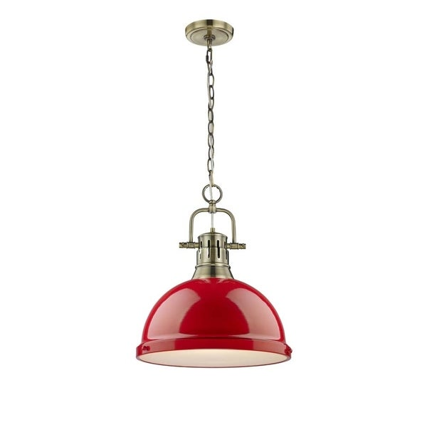 Duncan 1 Light Pendant with Chain in Aged Brass with a Red Shade