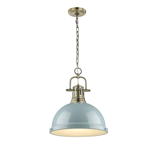 Golden Lighting Duncan 1-light Aged Brass Pendant with Chain and a Seafoam Shade