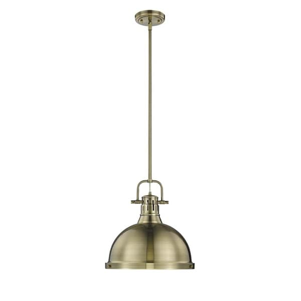 Golden Lighting Duncan Aged Brass 1-light Pendant