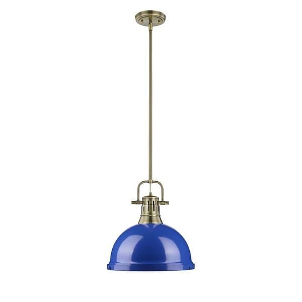 Golden Lighting Duncan Aged Brass Finish Steel Blue Glass Shade Rod-hung Pendant