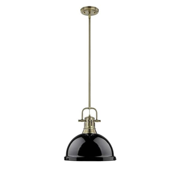 Golden Lighting Duncan Aged Brass Black Shade 1-light Pendant