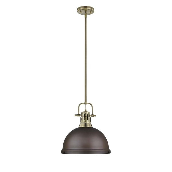 Golden Lighting Duncan 1-light Pendant with Rod in Aged Brass with a Rubbed Bronze Shade