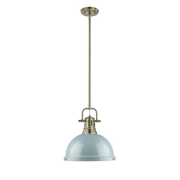 Golden Lighting Duncan Aged Brass Rod/Seafoam Shade 1-light Pendant
