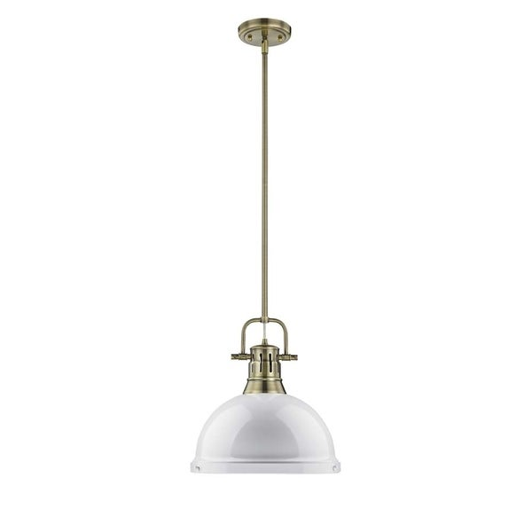 Duncan 1-light Pendant with Rod in Aged Brass with a White Shade