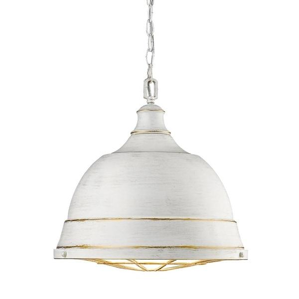 Golden Lighting Bartlett French White Steel Large Pendant Light