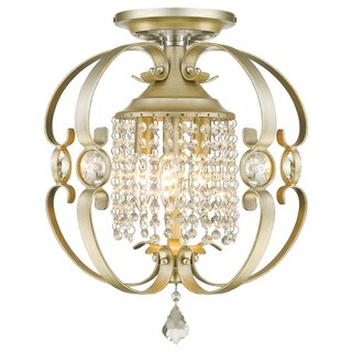 Golden LIghting Ella White/Goldtone Metal Semi-flush Fixture