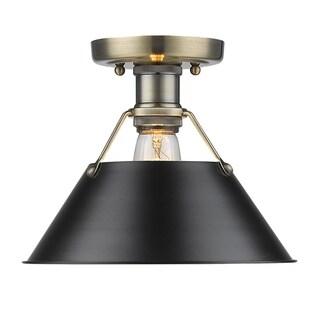Golden Lighting Orwell AB Aged Brass/Black Shade Flush-mount Light Fixture