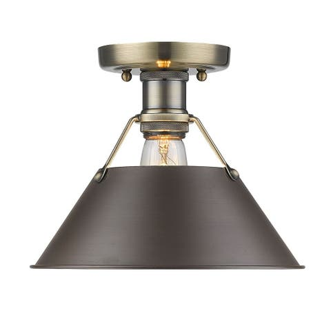 Golden Lighting Orwell AB Aged Brass Rubbed Bronze Shade Flush Mount