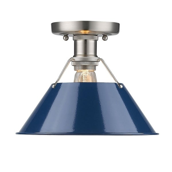 Orwell PW Flush Mount in Pewter with Navy Blue Shade