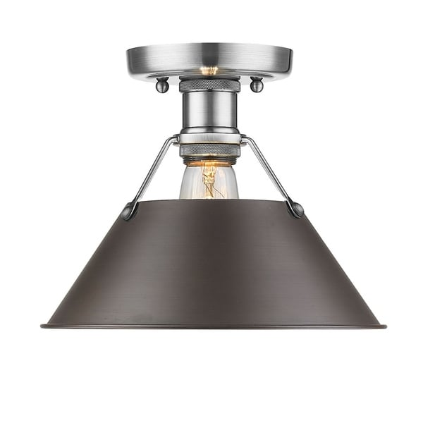 Orwell PW Flush Mount in Pewter with Rubbed Bronze Shade