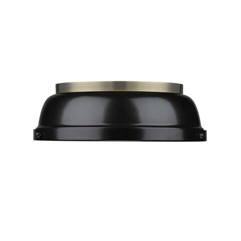 Golden Lighting Duncan Aged Brass Black Shade 14-inch Flush Mount