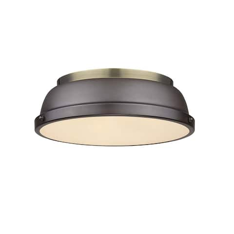 Golden Lighting Duncan Aged Brass/Rubbed Bronze Shade 14-inch Flush-mount Fixture