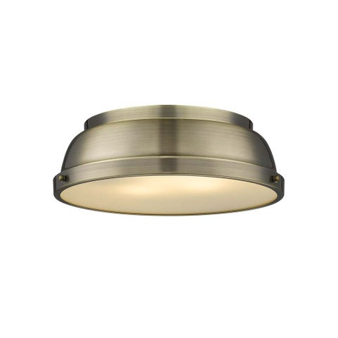 Duncan 14-inch Flush Mount in Aged Brass with an Aged Brass Shade