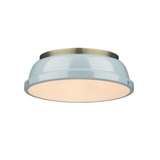 Golden Lighting Duncan Aged Brass/Seafoam Shade 14-inch Flush-mount Fixture