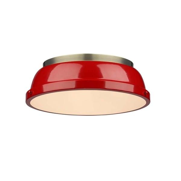 Golden Lighting Duncan Red Aged Brass 14-inch Flush Mount Light Fixture
