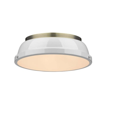 """Duncan 14"""" Flush Mount in Aged Brass with a White Shade"""