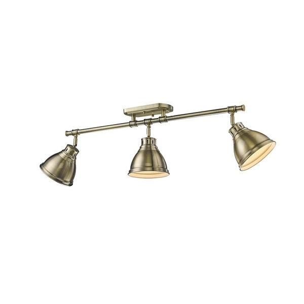 Golden Lighting Duncan 3-light Semi-flush Aged Brass Steel Track Light with Aged Brass Shades. Opens flyout.
