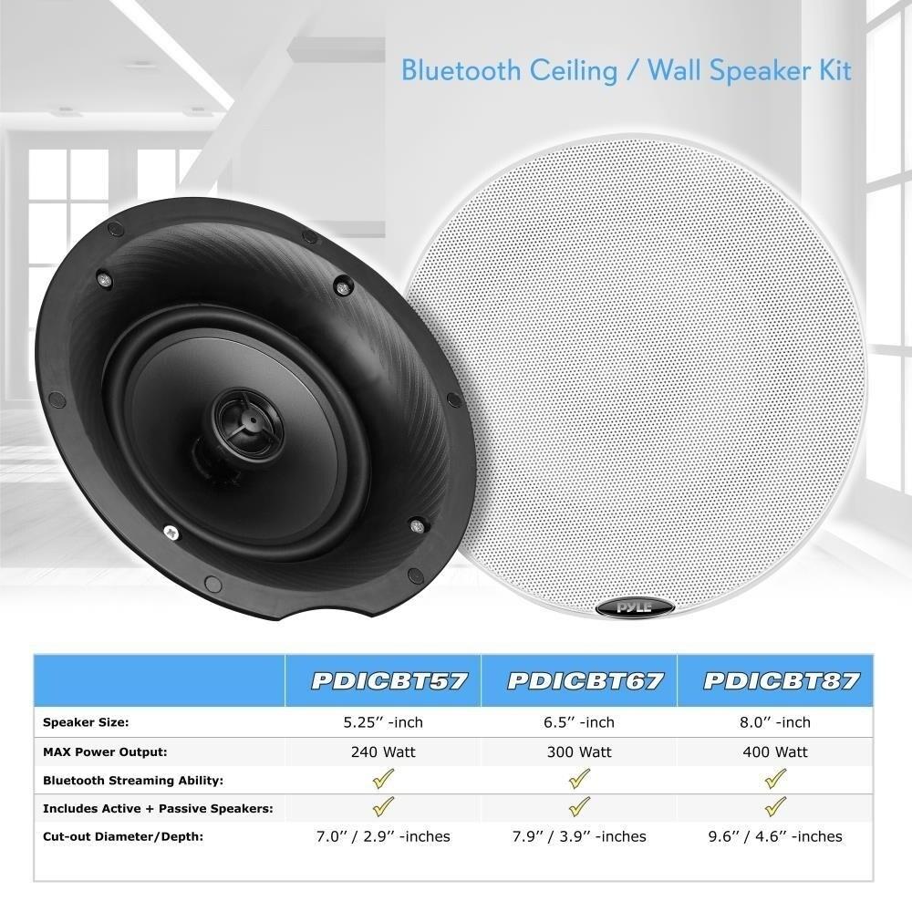 Pyle PDICBT57 5 25-inch 240-watt Dual Bluetooth Ceiling/Wall Speaker Kit  With 2 Flush-mount 2-way Speakers