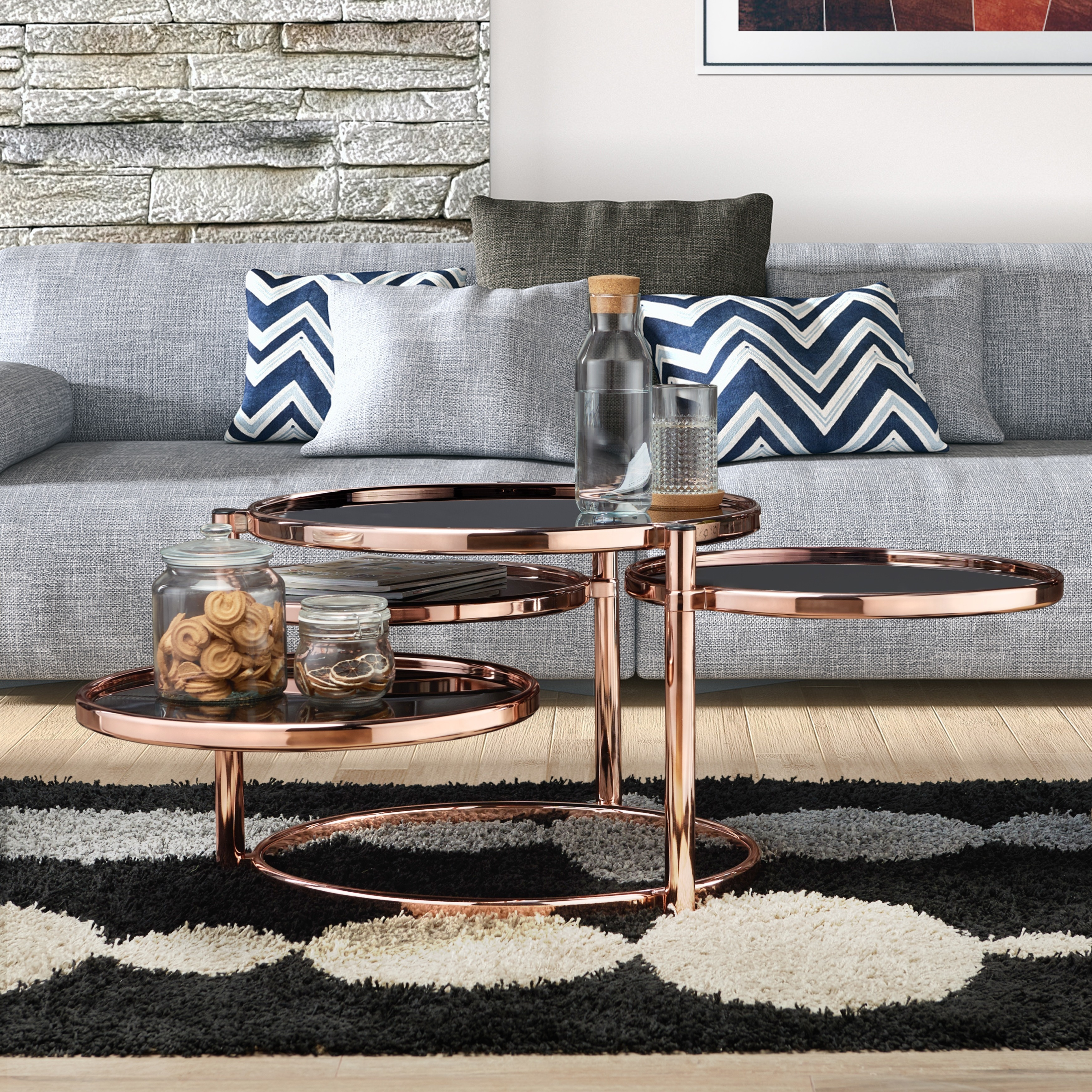Furniture of America Cara Contemporary Round Motion Glass Metal