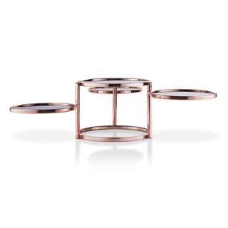 Furniture of America Cara Contemporary Round Motion Glass Metal Coffee Table