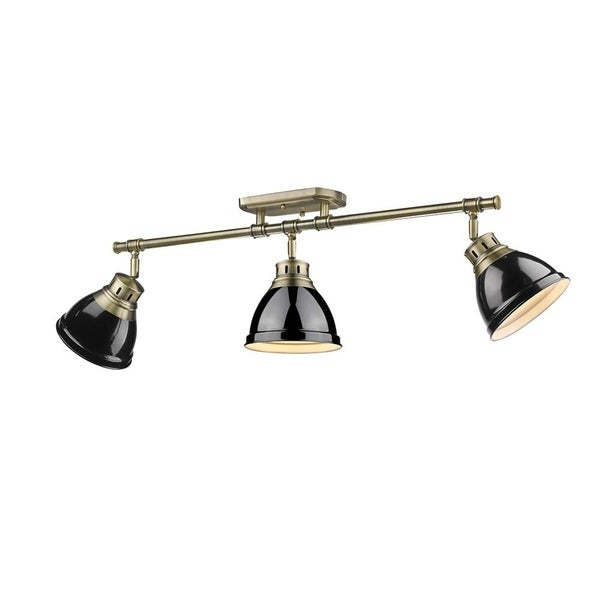 Golden Lighting Duncan 3-light Semi-flush Aged Brass Black Shades Track-light Fixture