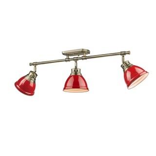 Golden Lighting Duncan Aged Brass Red Shades 3-Lights Semi-Flush Track-light Fixture