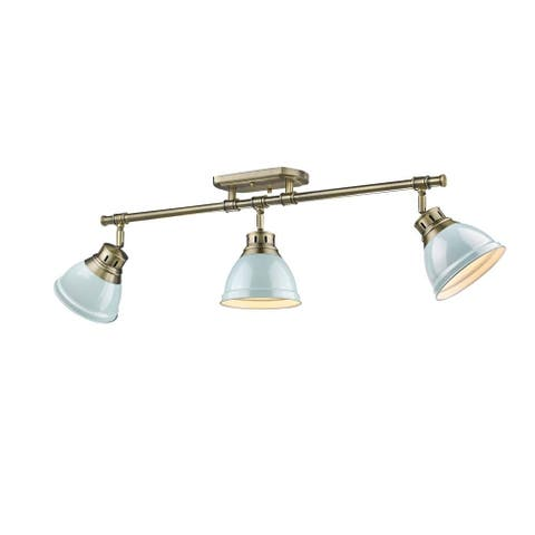 Duncan 3-light Semi-flush Aged Bronze Track-light with Seafoam Shades
