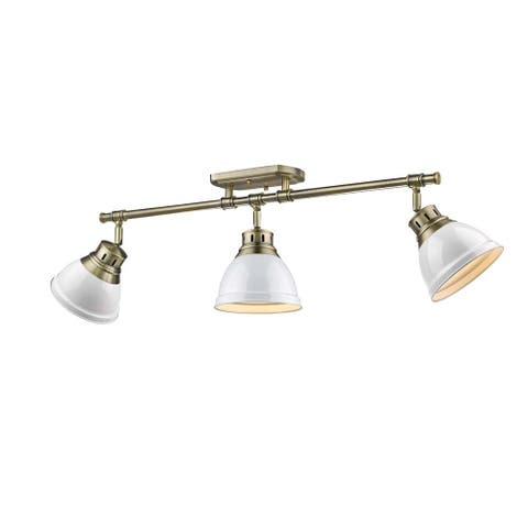 Golden Lighting Duncan Aged Brass-colored Steel 3-light Semi-flush Track Light with White Shades