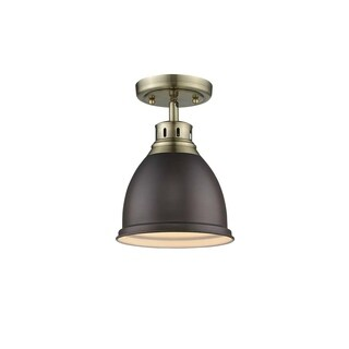 Duncan Flush Mount in Aged Brass with a Rubbed Bronze Shade