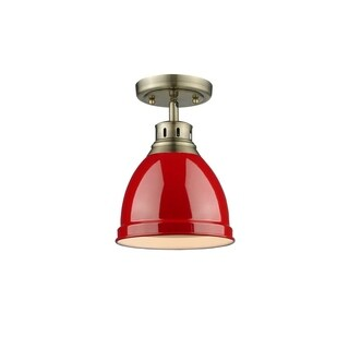 Golden Lighting Red Shade and Aged Brass Steel Duncan Flush Mount Light