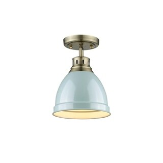 Golden Lighting Duncan Aged Brass/Seafoam Shade Flush-mount Fixture