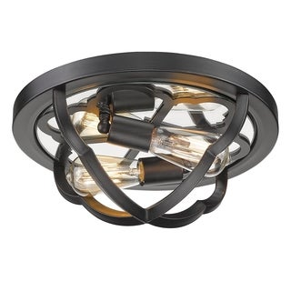 Golden Lighting Saxon Aged Bronze Flush Mount