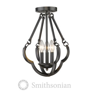 Golden Lighting Saxon Aged Bronze Semi-flush 3-light Convertible Fixture