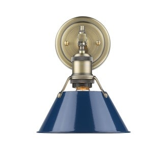 Golden Lighting Orwell 1-light Aged Brass Bath Vanity Light with Navy Blue Shade