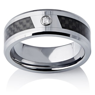 Men's 8 mm Tungsten and Carbon Fiber Diamond Ring