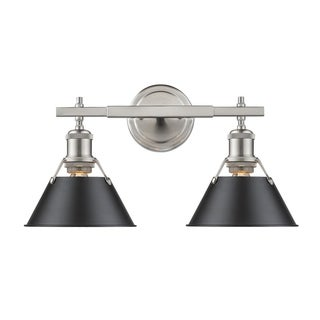 Golden Lighting Orwell PW Pewter and Black Shade 2-light Bath Vanity Fixture