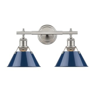 Golden Lighting Orwell Pewter with Navy Blue Shade 2-light Bath Vanity