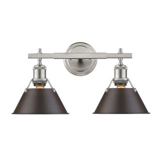 Golden Lighting Orwell PW Rubbed Bronze Shade and Pewter Steel 2-light Bath Vanity Light