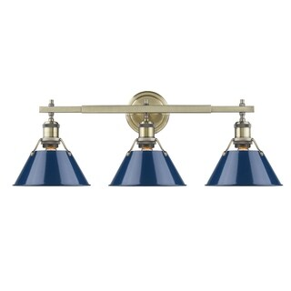 Golden Lighting Orwell Aged Brass Finish Steel Navy Blue Glass Shade 3-light Bath Vanity Fixture