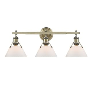 Golden Lighting Orwell AB Gold Aged-brass Finish Steel-frame 3-light Bath Vanity Fixture with Opal Glass Shades